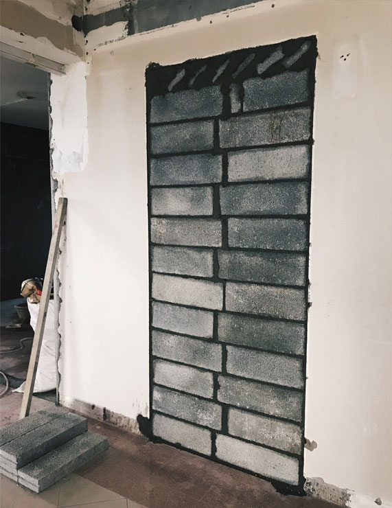 Grey Wall Brick Under Renovation Singapore