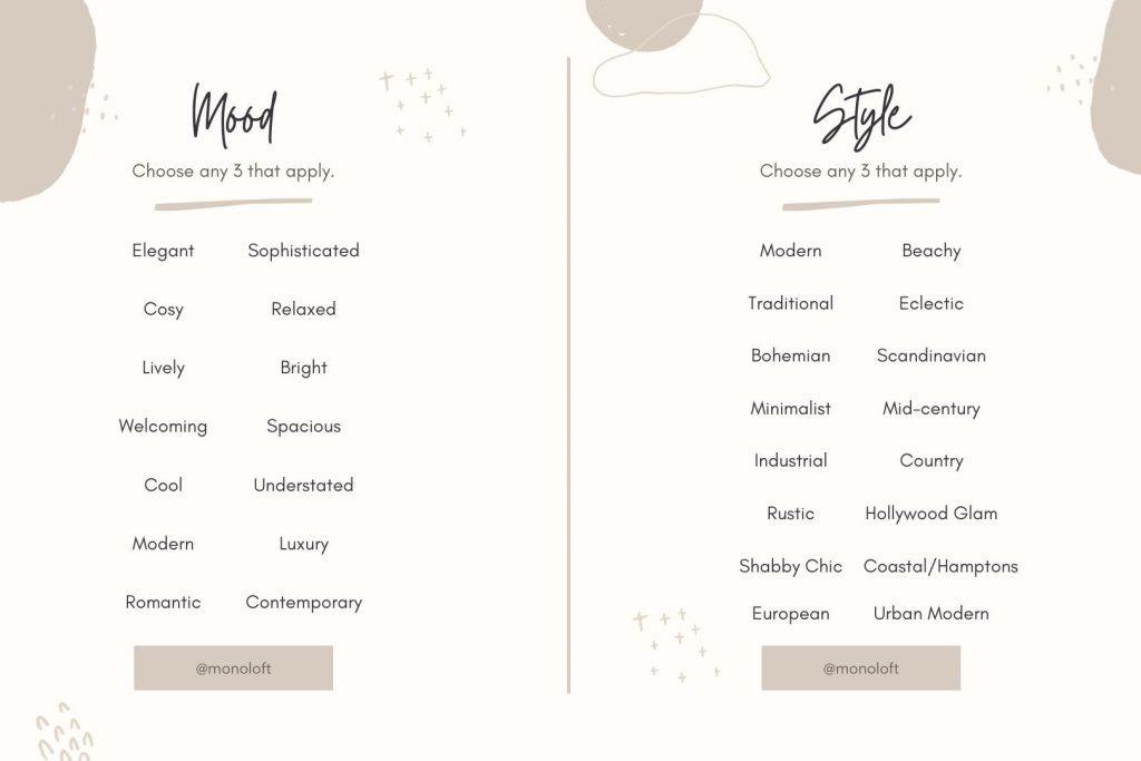 Monoloft Moodboard Style Checklist